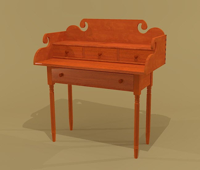 Creekside woodshop sketchup drawings for New england style desk