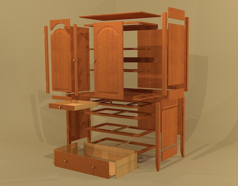 Creekside woodshop sketchup drawings - Armoire design blanche ...
