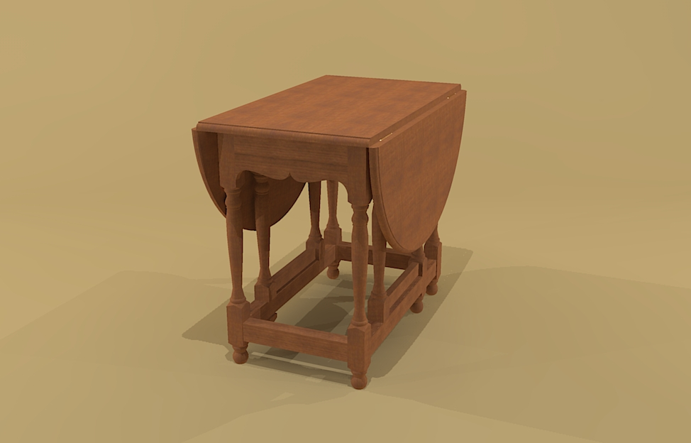 Creekside woodshop sketchup drawings - Gateleg table with drawers ...